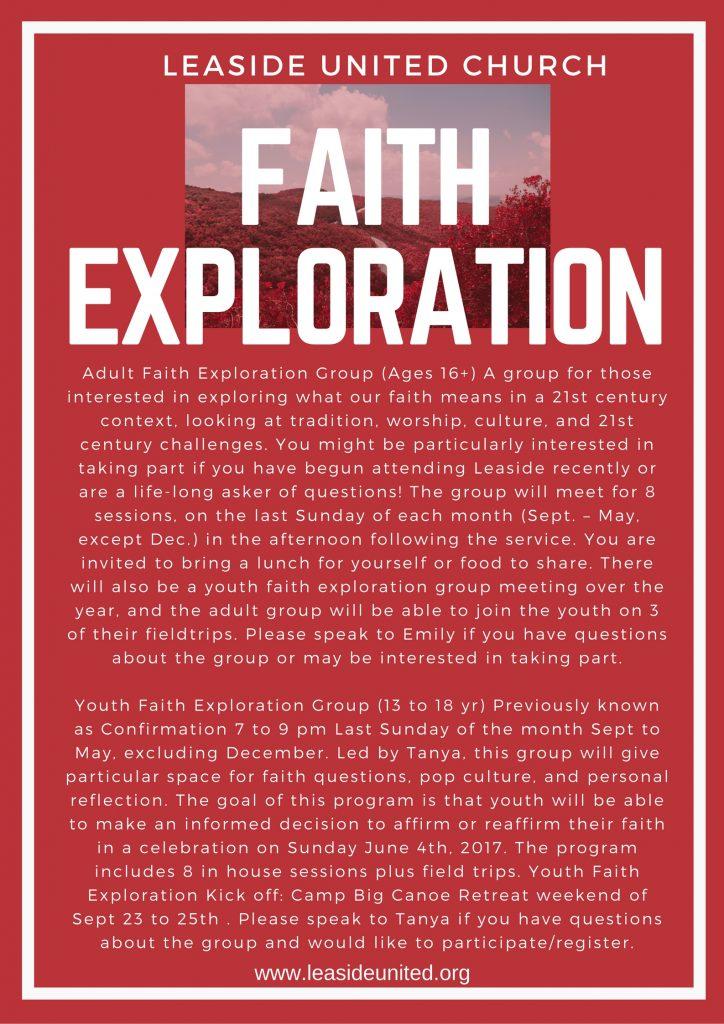 Adult Faith Exploration @ Leaside United Church | Toronto | Ontario | Canada