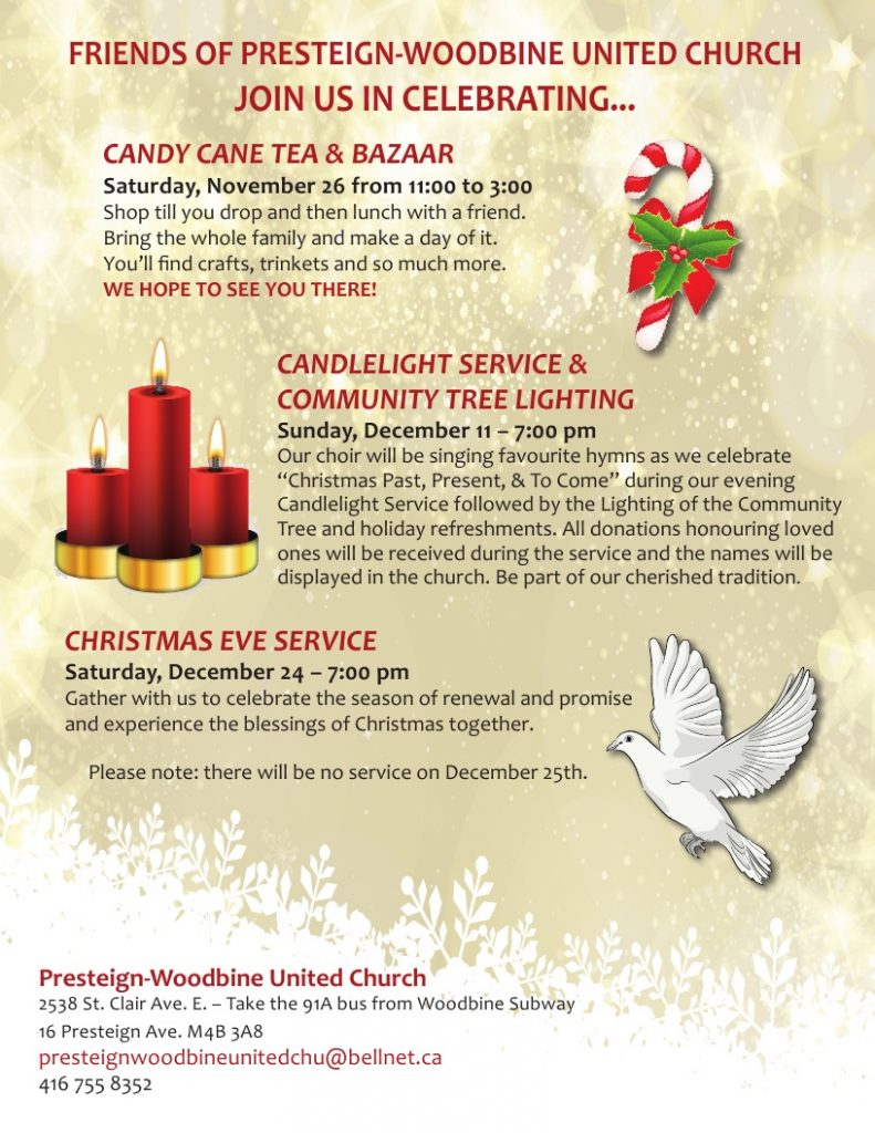 Presteign-Woodbine Candlelight Service & Community Tree Lighting @ Presteign-Woodbine United Church | Toronto | Ontario | Canada